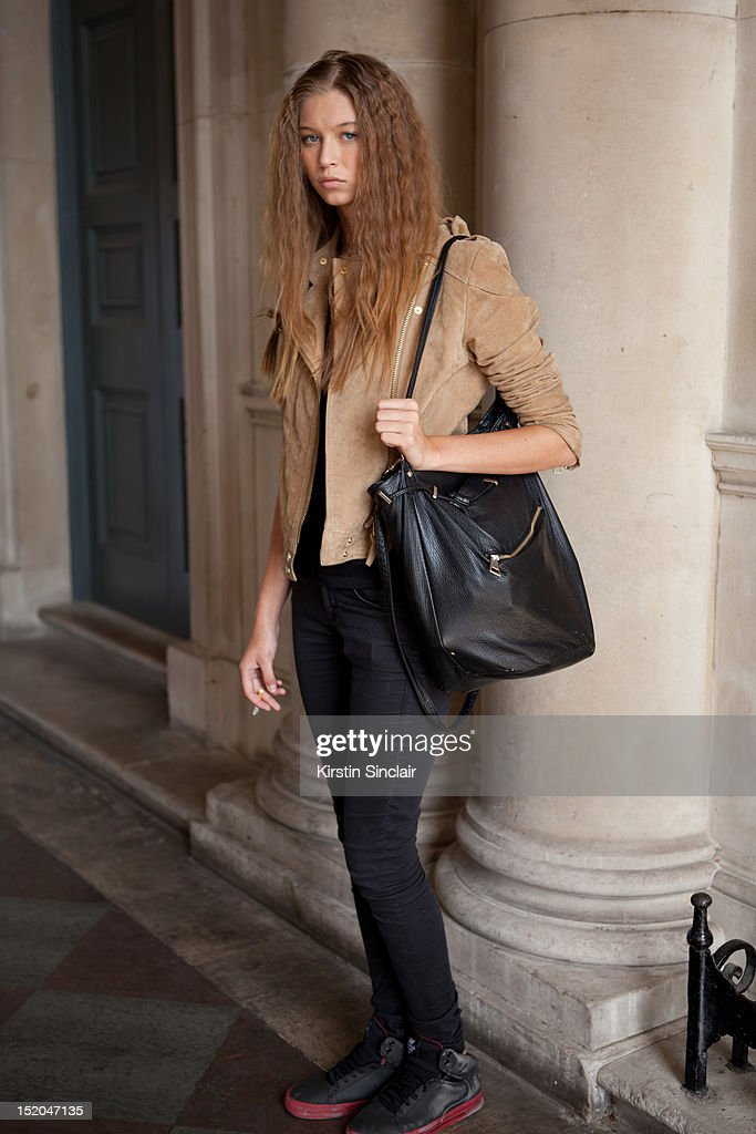 Shauna Bennett Model, wearing a Mango jacket, Top shop top and jeans, Adidas Supra trainers and a Primark bag on day 2 of London Fashion Week Spring/Summer 2013, at Somerset House on September 15, 2012 in London, England.