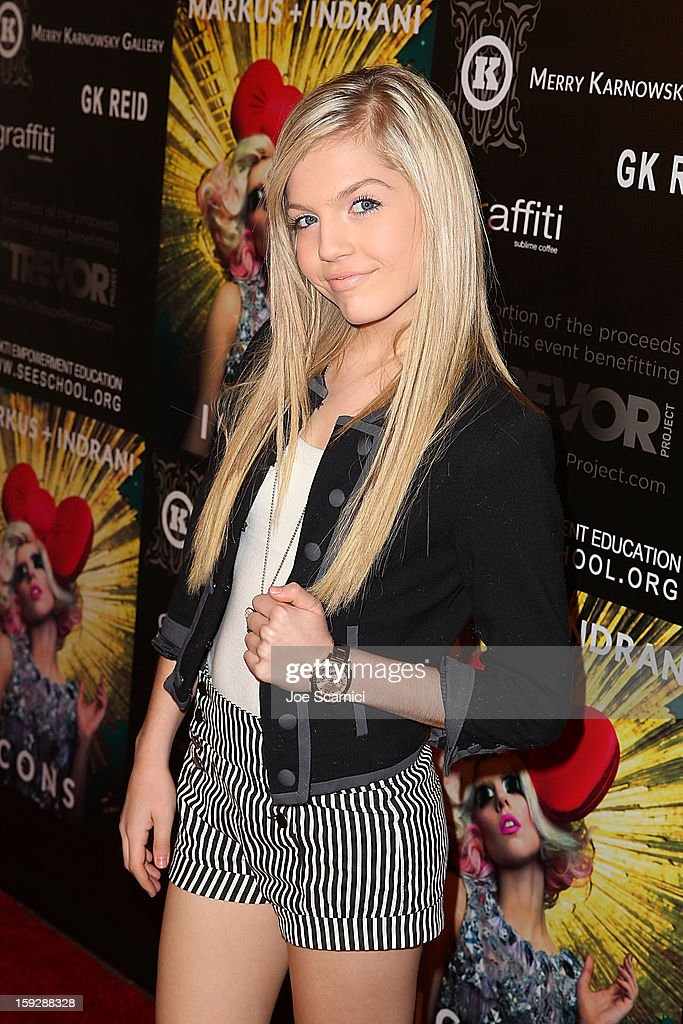 Shauna Case arrives at Markus + Indrani Icons book launch party hosted by Carmen Electra benefiting The Trevor Project at Merry Karnowsky Gallery & Graffiti on January 10, 2013 in Los Angeles, California.