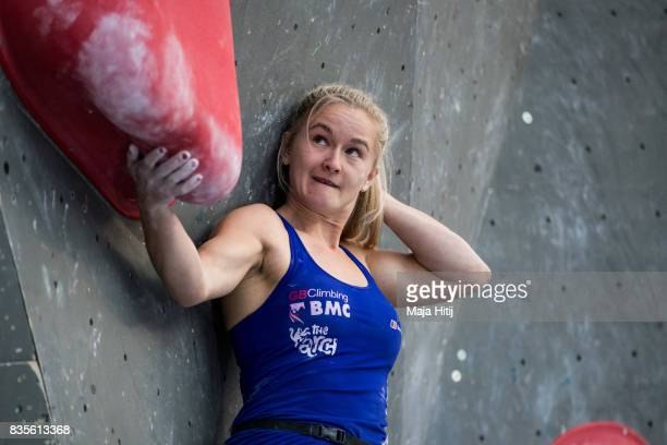 Shauna Coxsey of Great Britain competes during final of the IFSC Climbing World Cup Munich on August 19 2017 in Munich Germany