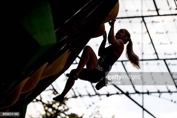 Shauna Coxsey of Great Britain competes during finals of the IFSC Climbing World Cup Munich on August 19 2017 in Munich Germany