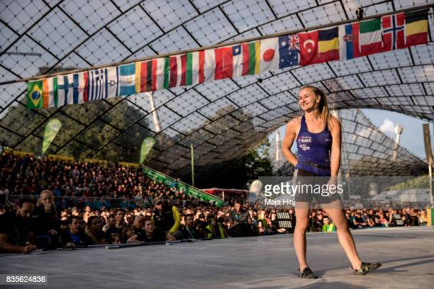 Shauna Coxsey of Great Britain smiles during finals of the IFSC Climbing World Cup Munich on August 19 2017 in Munich Germany