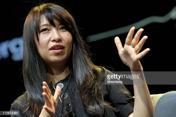 Shauna Mei founder and chief executive officer of AHAlife speaks at Bloomberg Link Empowered Entrepreneur Summit in New York US on Thursday April 14...