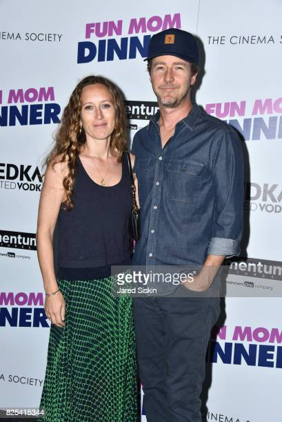 Shauna Robertson and actor Edward Norton attend Momentum Pictures with The Cinema Society SVEDKA host a screening of 'Fun Mom Dinner' at the Landmark...