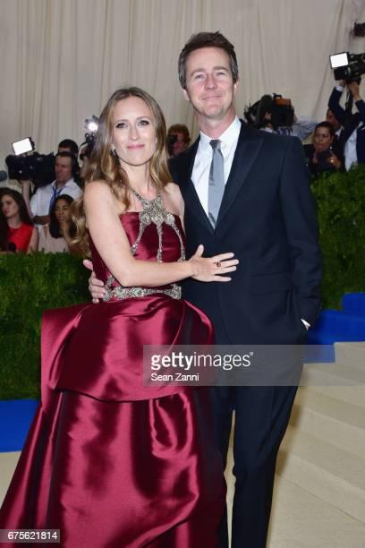 Shauna Robertson and Edward Norton arrives at 'Rei Kawakubo/Comme des Garcons Art Of The InBetween' Costume Institute Gala at The Metropolitan Museum...