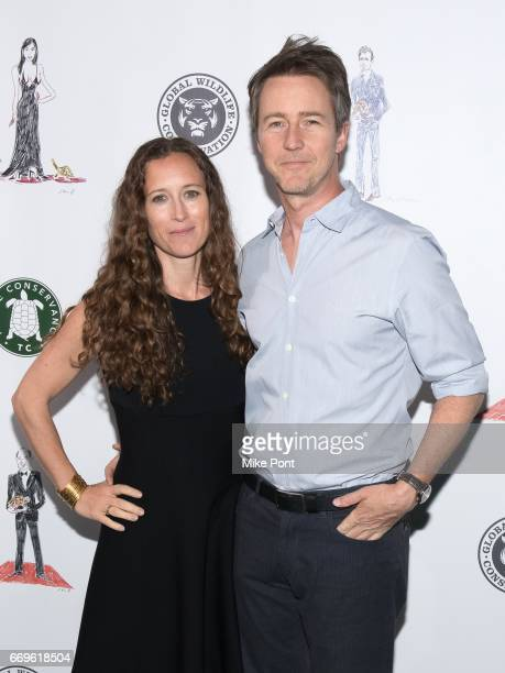 Shauna Robertson and Edward Norton attend the 2017 Turtle Ball at The Bowery Hotel on April 17 2017 in New York City