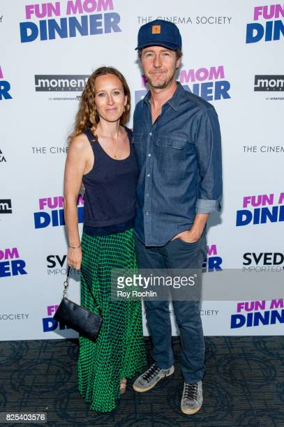 Shauna Robertson and Edward Norton attend the screening of 'Fun Mom Dinner' at Landmark Sunshine Cinema on August 1 2017 in New York City