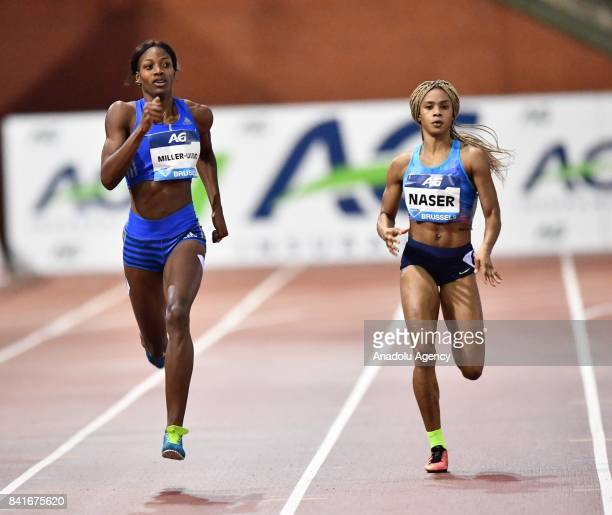 Shaunae Miller Uibo of Bahamas and Salwa Eid Naser of Bahrain compete in the Women's 400 metres during the IAAF Diamond League Memorial Van Damme at...