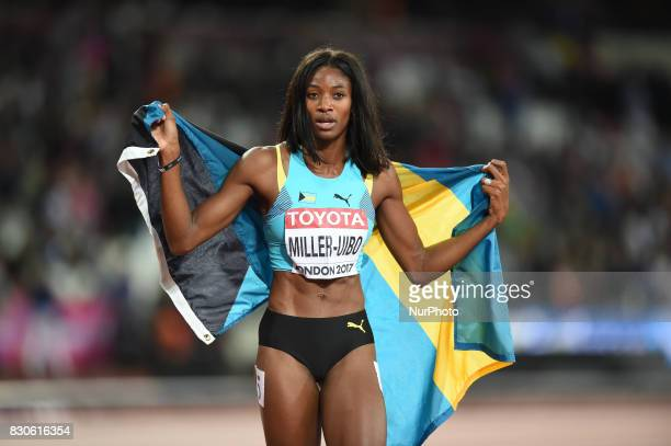 Shaunae MillerUibo of Bahamas celebrating bronze in the 200 meter final in London at the 2017 IAAF World Championships athletics at the London...