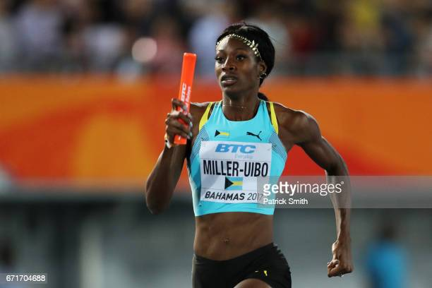 Shaunae MillerUibo of the Bahamas competes in heat two of the Women's 4 x 400 Meters Relay during the IAAF/BTC World Relays Bahamas 2017 at Thomas...