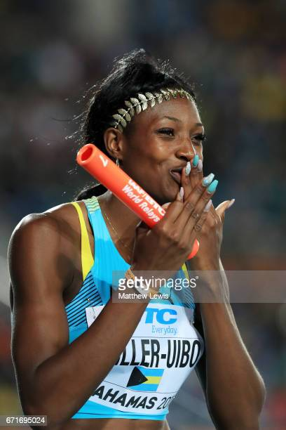 Shaunae MillerUibo of the Bahamas prepares to compete in heta two of the Women's 4 x 400 Meters Relay during the IAAF/BTC World Relays Bahamas 2017...