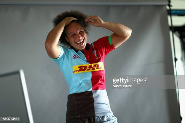 Shaunagh Brown poses for a portrait during the Harlequins Ladies Squad Photo call for the 2017/18 Tyrrells Premier 15s Season at Surrey Sports Park...