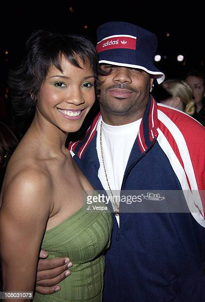 Shauntay Hinton and Damon Dash during Mercedes Benz Fashion Week Fall 2003 Collections Luca Luca Front Row at Bryant Park in New York City New York...