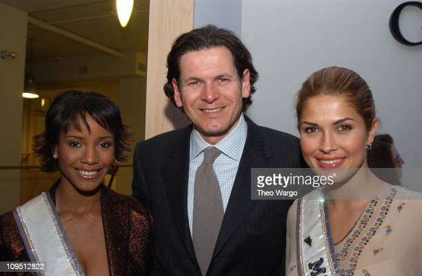 Shauntay Hinton Miss USA 2003 Claudio Gottardi President / CEO of Safilo USA and Justine Pasek Miss Universe 2003