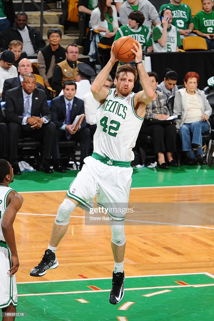 <a gi-track='captionPersonalityLinkClicked' href=/galleries/search?phrase=Shavlik+Randolph&family=editorial&specificpeople=210678 ng-click='$event.stopPropagation()'>Shavlik Randolph</a> #42 of the Boston Celtics grabs a rebound against the Brooklyn Nets on April 10, 2013 at the TD Garden in Boston, Massachusetts.