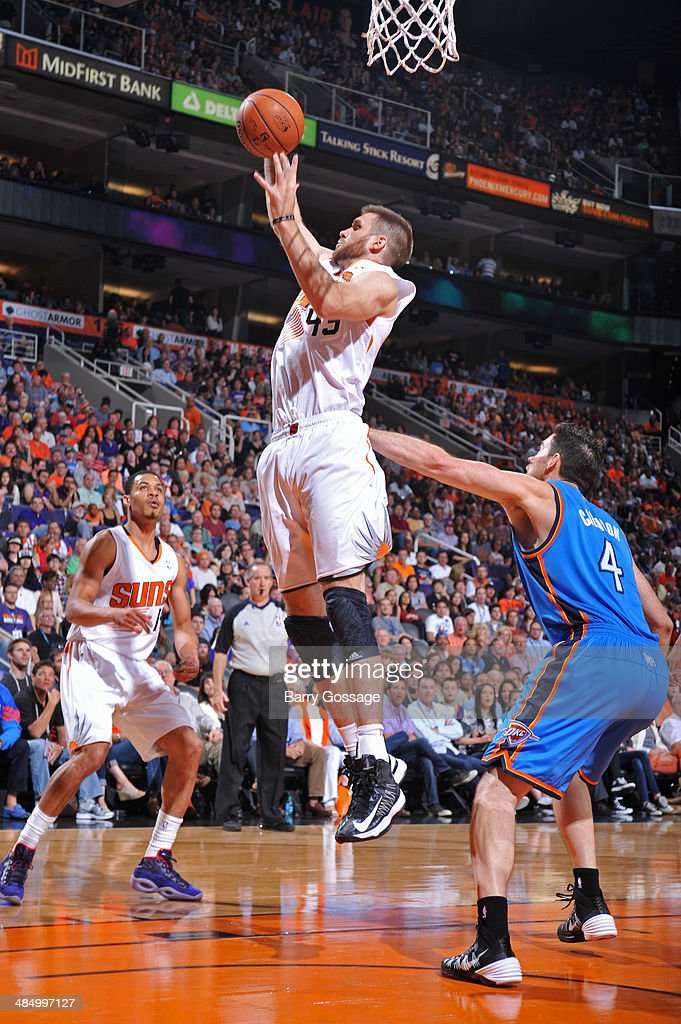 <a gi-track='captionPersonalityLinkClicked' href=/galleries/search?phrase=Shavlik+Randolph&family=editorial&specificpeople=210678 ng-click='$event.stopPropagation()'>Shavlik Randolph</a> #43 of the Phoenix Suns grabs a rebound against the Oklahoma City Thunder on April 6, 2014 at U.S. Airways Center in Phoenix, Arizona.
