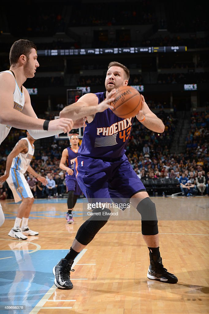<a gi-track='captionPersonalityLinkClicked' href=/galleries/search?phrase=Shavlik+Randolph&family=editorial&specificpeople=210678 ng-click='$event.stopPropagation()'>Shavlik Randolph</a> #43 of the Phoenix Suns handles the ball against the Denver Nuggets during the game on November 28, 2014 at the Pepsi Center in Denver, Colorado.