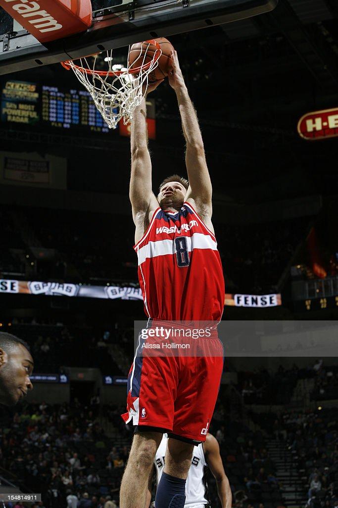 Shavlik Randolph #8 of the Washington Wizards attempts a dunk vs San Antonio Spurs on October 26, 2012 at the AT&T Center in San Antonio, Texas.