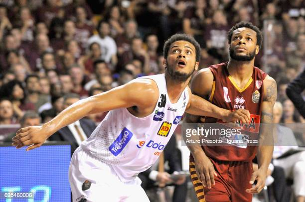 Shavon Shields of Dolomiti competes with MarQuez Haynes of Umana during the match game 1 of play off final series of LBA Legabasket of Serie A1...