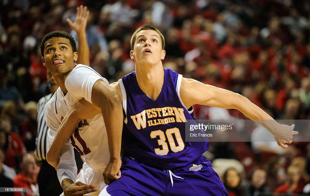 Shavon Shields #31 of the Nebraska Cornhuskers and Mike Miklusak #30 of the Western Illinois Leathernecks fight for position during their game at Pinnacle Bank Arena on November 12, 2013 in Lincoln, Nebraska.