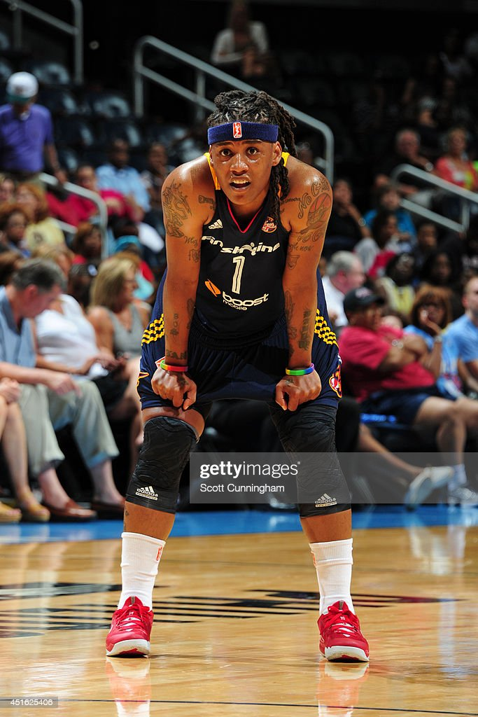 Shavonte Zellous #1 of the Indiana Fever during the game against the Atlanta Dream on July 1, 2014 at Philips Arena in Atlanta, Georgia.