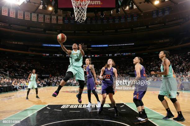 Shavonte Zellous of the New York Liberty drives to the basket against the Phoenix Mercury on June 4 2017 at Madison Square Garden in New York New...