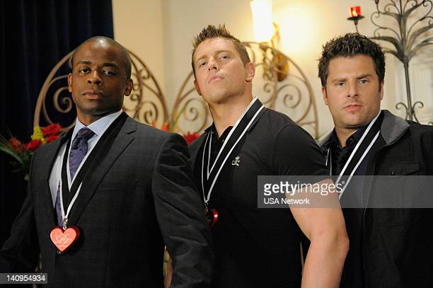 PSYCH 'Shawn and the Real Girl' Pictured Dule Hill as Gus Guster Michael 'The Miz' Mizanin as Mario James Roday as Shawn Spencer