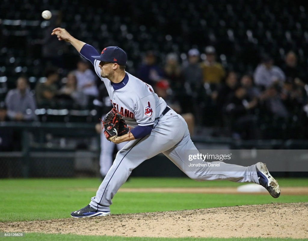 Shawn Armstrong #51 of the Cleveland Indians pitches in the 9th inning against the Chicago White Sox at Guaranteed Rate Field on September 5, 2017 in Chicago, Illinois. The Indians defeated the White Sox 9-4.
