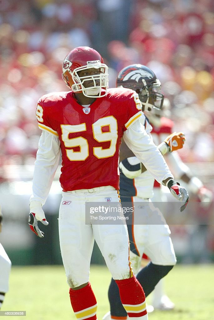 Shawn Barber #59 of the Kansas City Chiefs looks on from the field ...
