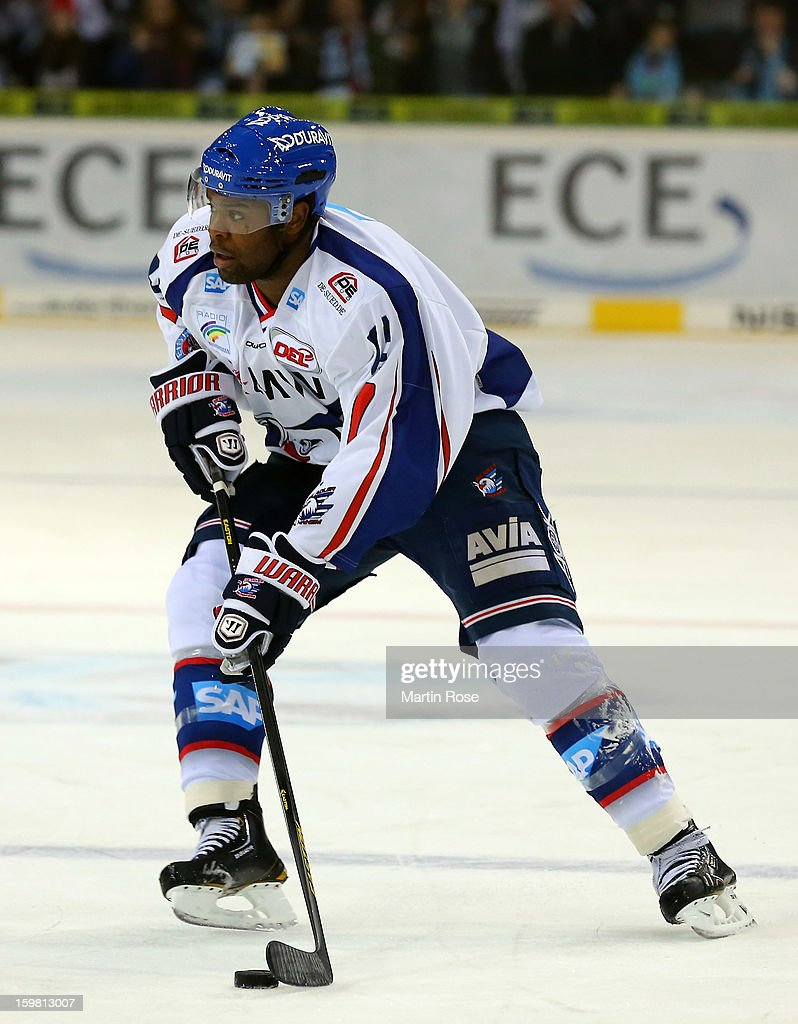 <a gi-track='captionPersonalityLinkClicked' href=/galleries/search?phrase=Shawn+Belle&family=editorial&specificpeople=2235306 ng-click='$event.stopPropagation()'>Shawn Belle</a> of Hamburg skates up the ice against the Hamburg Freezers during the DEL match between Hamburg Freezers and Adler Mannheim at O2 World on January 18, 2013 in Hamburg, Germany.