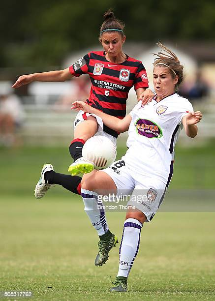 Shawn Billam of the Glory competes with Eliza Ammendolia of the Wanderers during the round 14 WLeague match between the Western Sydney Wanderers and...