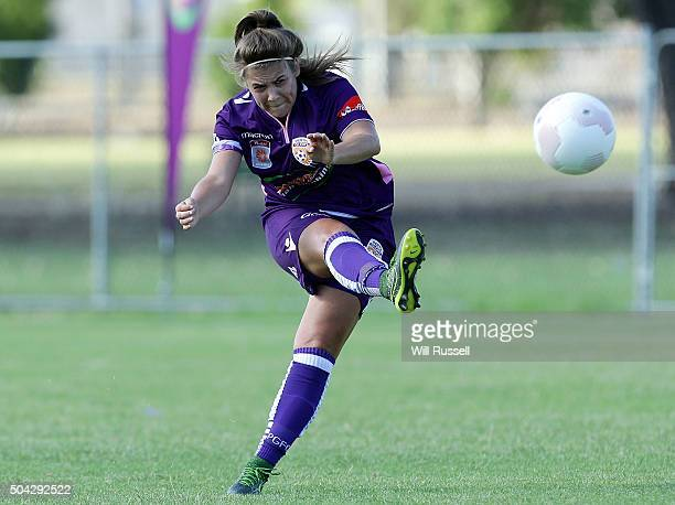 Shawn Billam of the Glory kicks the ball during the round 13 WLeague match between Perth Glory and Adelaide United at Ashfield Sports Club on January...