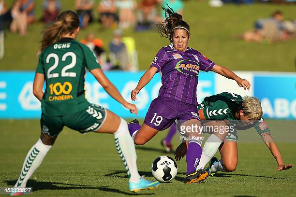 Shawn Billam of the Glory passes the ball during the round six WLeague match between the Perth Glory and Canberra United at Percy Doyle Reserve on...