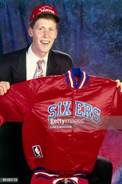 Shawn Bradley selected number two overall by the Philadelphia 76ers poses for a portrait during the 1993 NBA Draft on June 30 1993 at the Palace of...