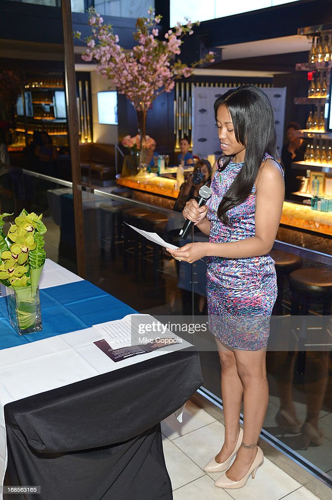 Shawn Carter Scholarship Alumnus Bianca Bell speaks at the Shawn Carter Foundation's Mother's Day event 'Celebrating Mothers, Our First Educators' at 40 / 40 Club on May 11, 2013 in New York City.
