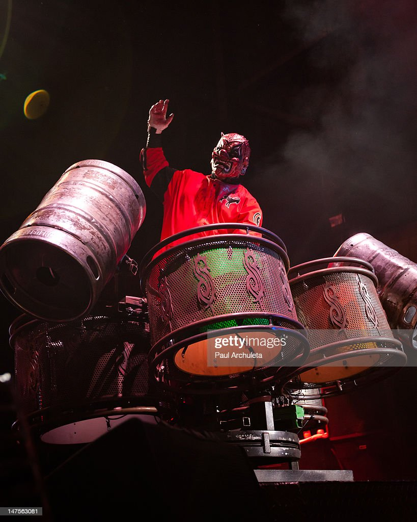 Shawn Crahan of the heavy metal band Slipknot performs at the 2012 Rockstar energy drink Mayhem Festival at San Manuel Amphitheater on June 30 2012...