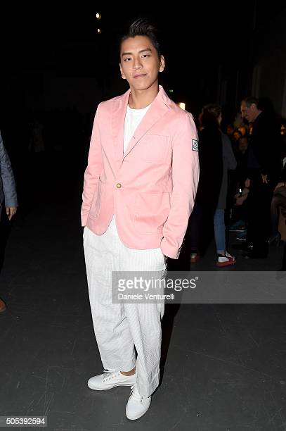Shawn Dou attends the Moncler Gamme Bleu show during Milan Men's Fashion Week Fall/Winter 2016/17 on January 17 2016 in Milan Italy