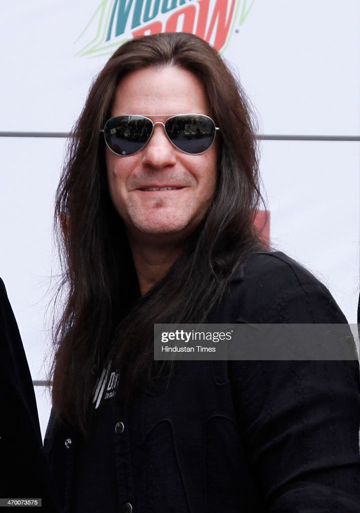 Shawn Drover Canandian drummer and member of the American thrash metal band Megadeth during an exclusive interview with Hindustan Times on February 15, 2014 at Hotel Crown Plaza in Greater Noida, India.