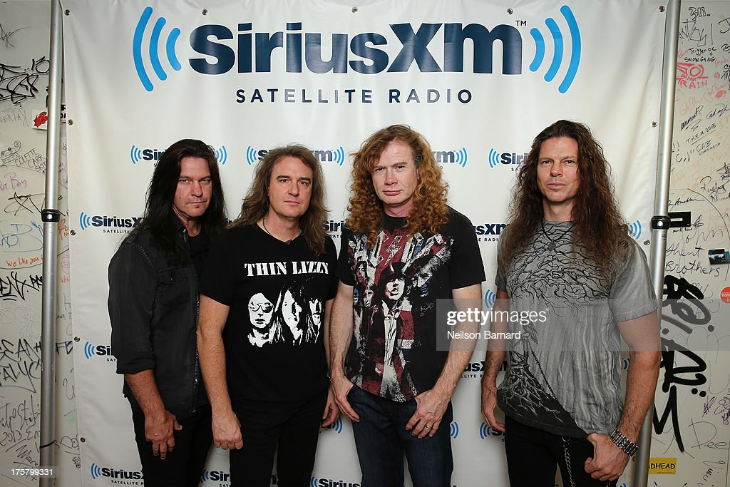 Shawn Drover, David Ellefson, Dave Mustaine and Chris Broderick of Megadeth visit SiriusXM Studios on August 8, 2013 in New York City.