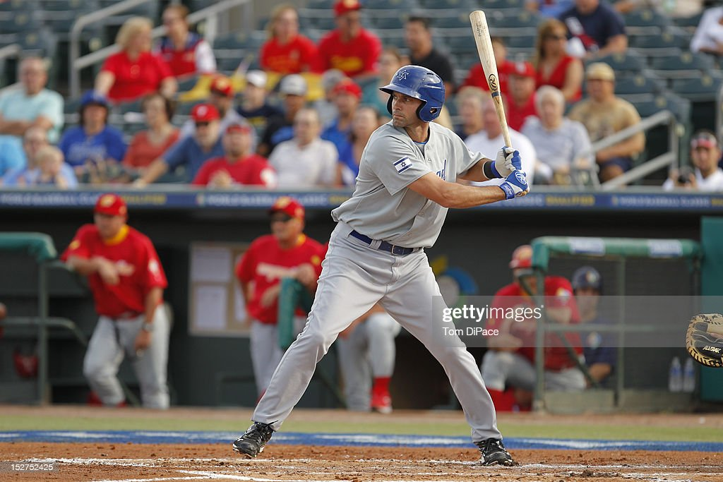 Shawn Green #15 of Team Israel bats against Team Spain during game 6 of the Qualifying Round of the World Baseball Classic at Roger Dean Stadium on September 23, 2012 in Jupiter, Florida.