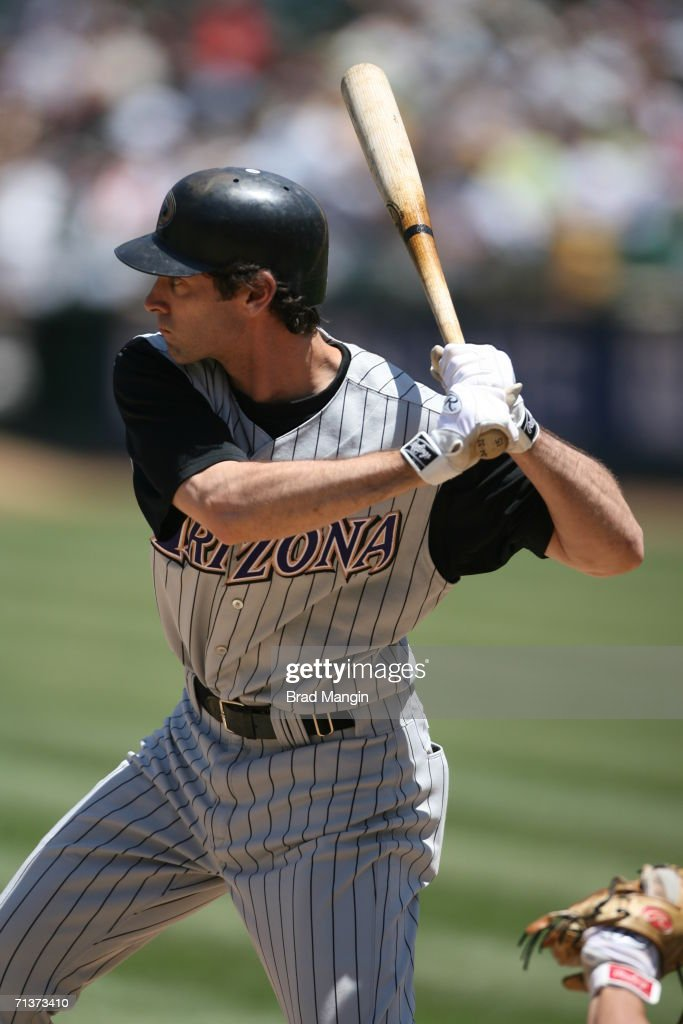 Shawn Green of the Arizona Diamondbacks bats during the game against the Oakland Athletics at the McAfee Coliseum in Oakland California on July 2...