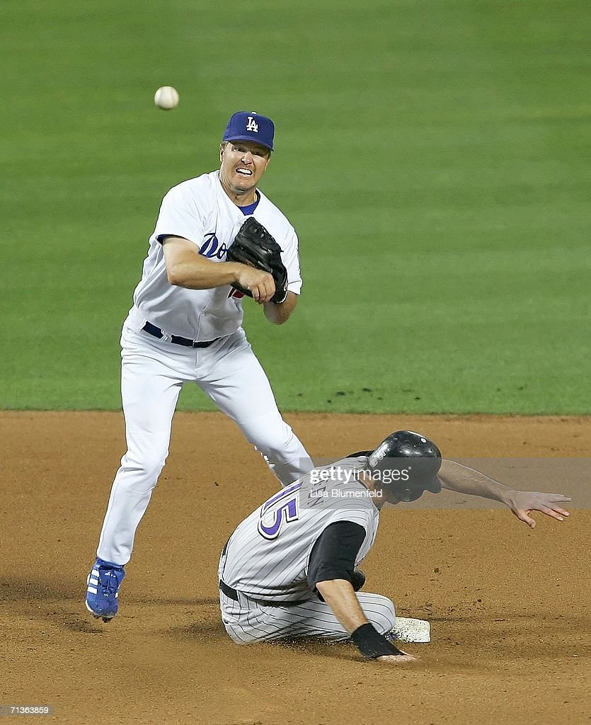 Shawn Green of the Arizona Diamondbacks is out at second base in the fourth inning against Jeff Kent of the Los Angeles Dodgers on July 3 2006 at...