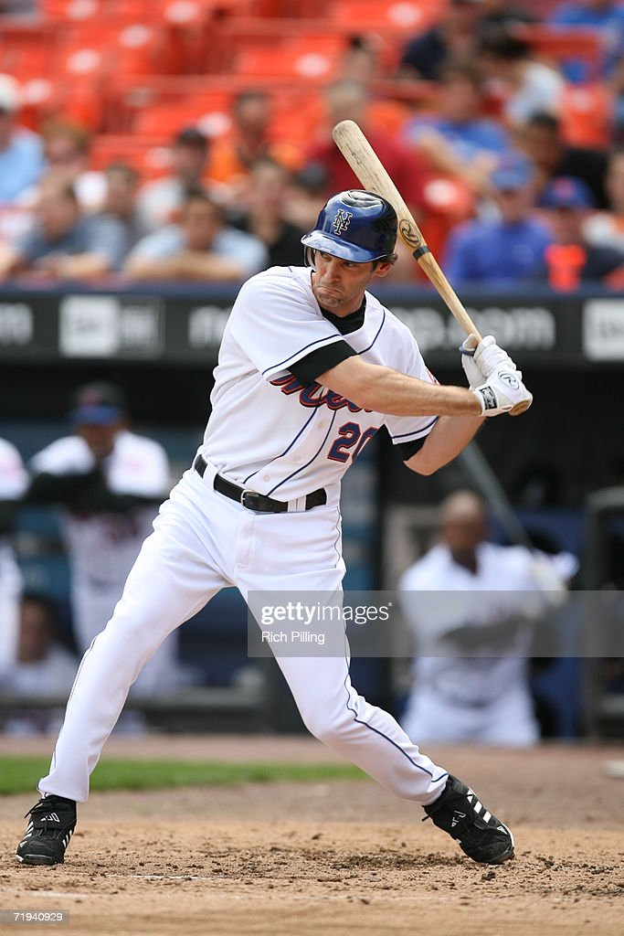 Shawn Green of the New York Mets batting during the first game of a double header against the Atlanta Braves at Shea Stadium in Flushing New York on...