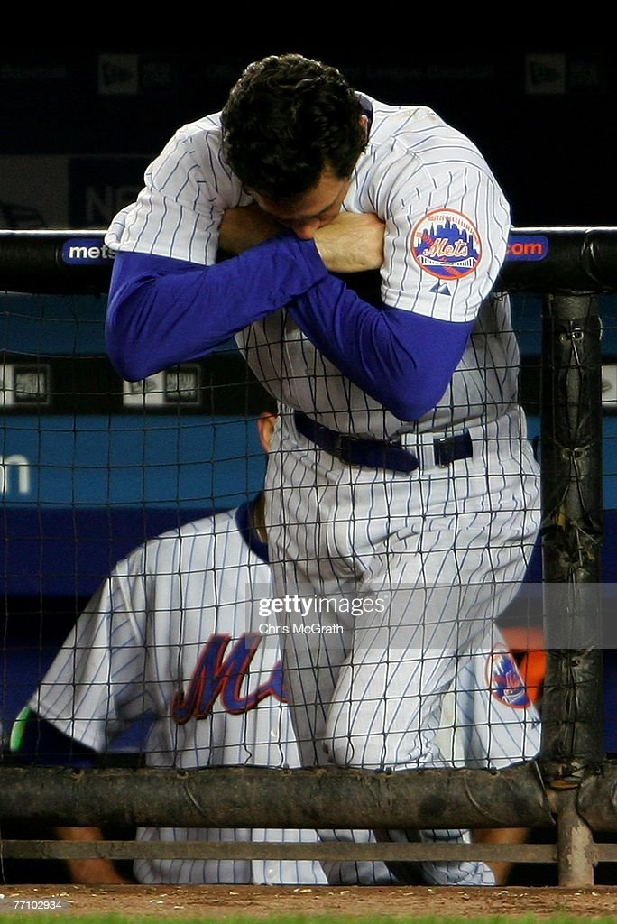 Shawn Green of the New York Mets reacts to a strike out in the bottom of the nineth inning against the Florida Marlins during the MLB game at Shea...