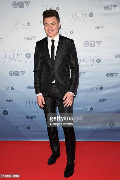 Shawn Hook arrives at the 2016 Juno Awards at Scotiabank Saddledome on April 3 2016 in Calgary Canada