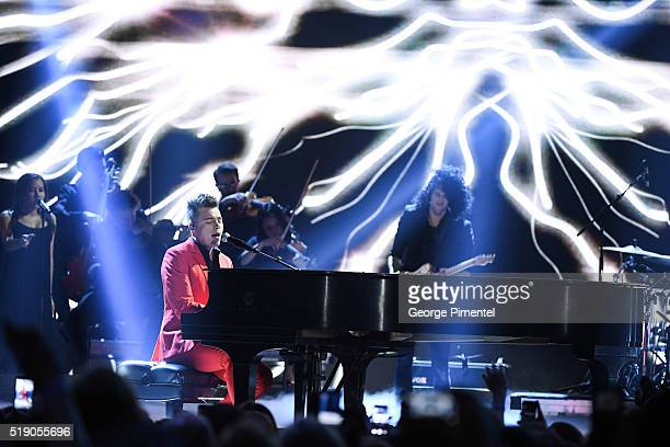 Shawn Hook performs at the 2016 Juno Awards at Scotiabank Saddledome on April 3 2016 in Calgary Canada