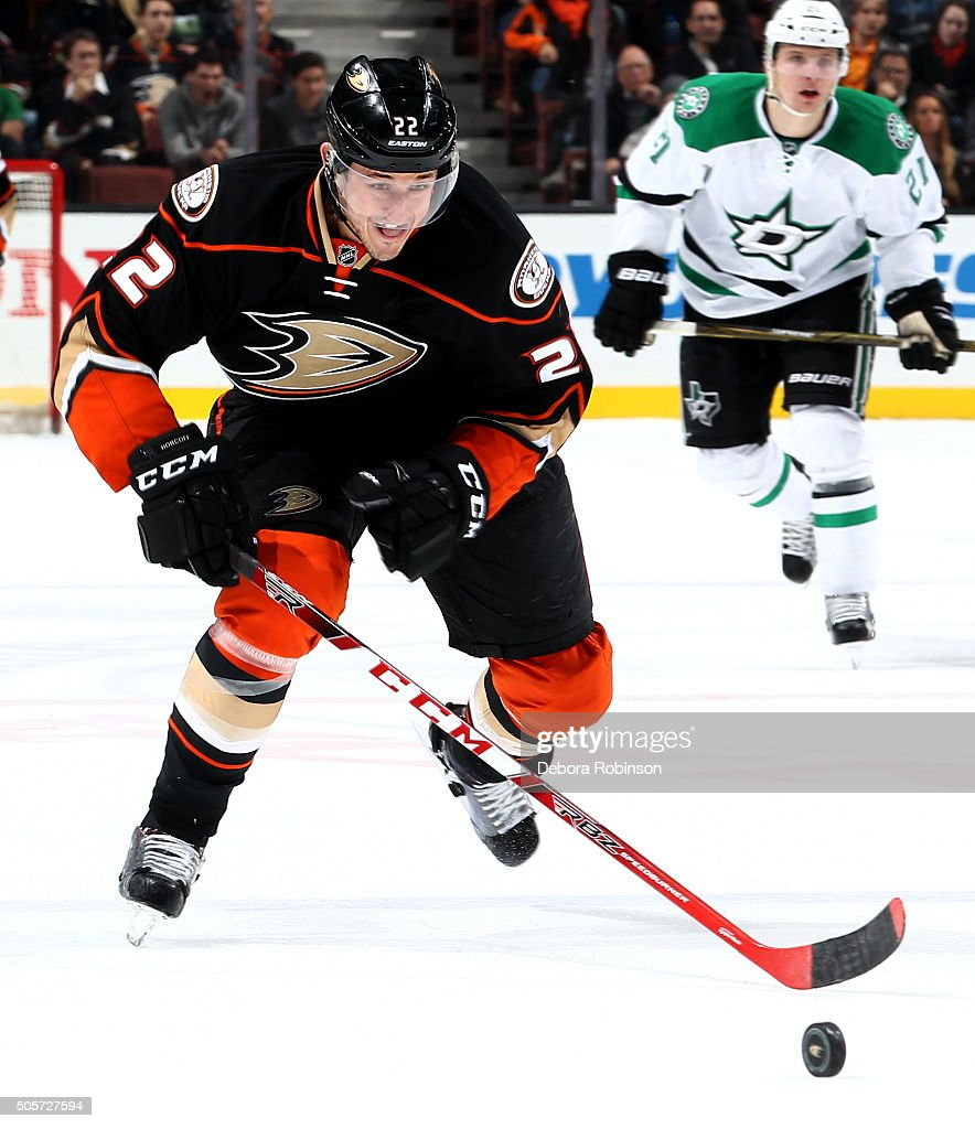Shawn Horcoff of the Anaheim Ducks handles the puck during the game against the Dallas Stars on January 15 2016 at Honda Center in Anaheim California