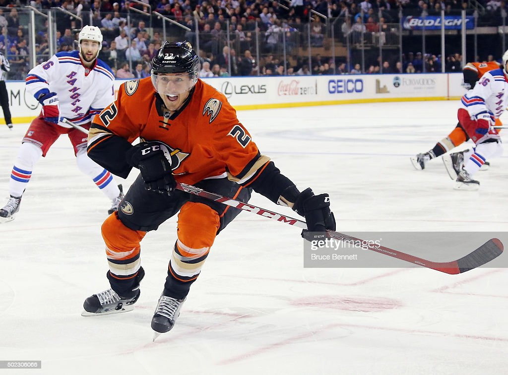 Shawn Horcoff of the Anaheim Ducks skates against the New York Rangers at Madison Square Garden on December 22 2015 in New York City The Rangers...