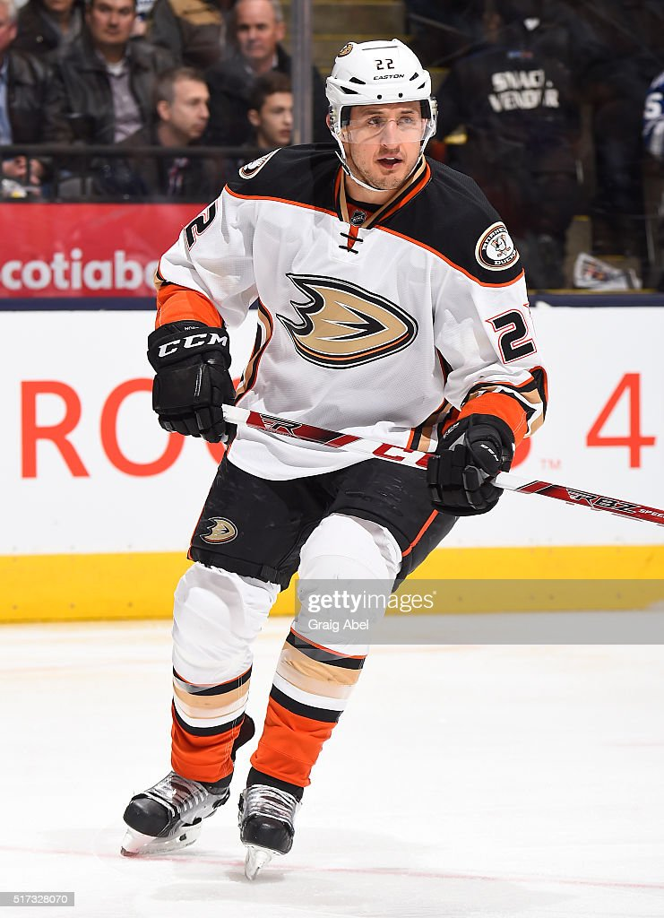 Shawn Horcoff of the Anaheim Ducks skates during NHL game action against the Toronto Maple Leafs March 24 2016 at Air Canada Centre in Toronto...