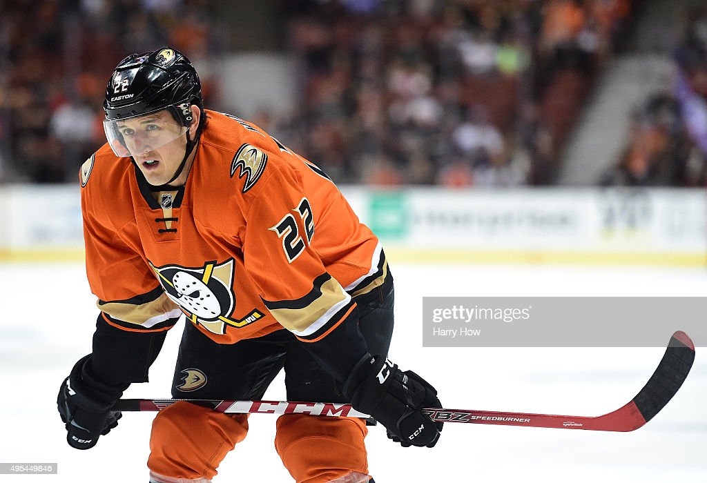 Shawn Horcoff of the Anaheim Ducks waits for a faceoff during the game against the Nashville Predators at Honda Center on November 1 2015 in Anaheim...