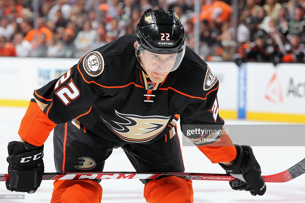 Shawn Horcoff of the Anaheim Ducks waits for play to begin against the Minnesota Wild on October 18 2015 at Honda Center in Anaheim California